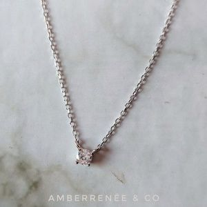 Jewelry - 4mm Diamond Solitaire Necklace Petite Minimalist